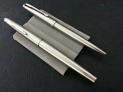 Parker 45 Pen & Ballpoint Set In Chrome Pen Has Medium S/Steel Nib And Converter