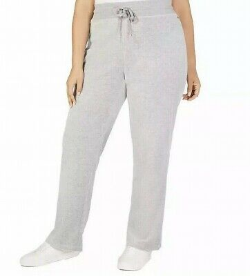 Calvin Klein Women's Gray Size 1X Plus Velour Wide Leg Pants Stretch $79 #219