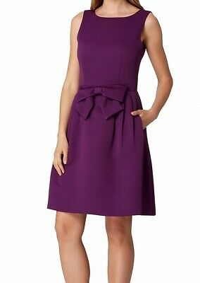 Tahari By ASL Womens A-Line Dress Purple 8P Petite Jacquard Round-Neck $138 922