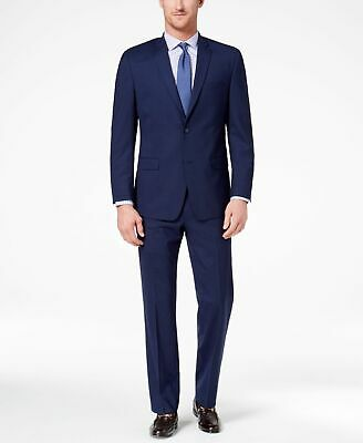 Marc New York Mens Blue Size 40 Short Two Button Suit Finished Hem $395 #082