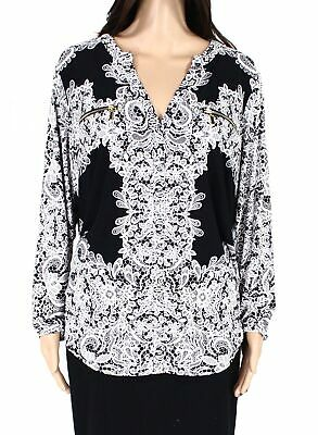 INC Womens Blouse Black White Size 1X Plus Split-Neck Floral Zip-Pockets $49 242