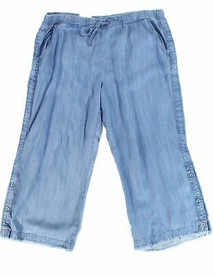 Style & Co. Womens Pants Blue Size 16W Plus Chambray Frayed Stretch $59 083