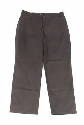 Lee Women's Pants Brown Size 12P Petite Relaxed Fit Chinos Stretch $60 #592