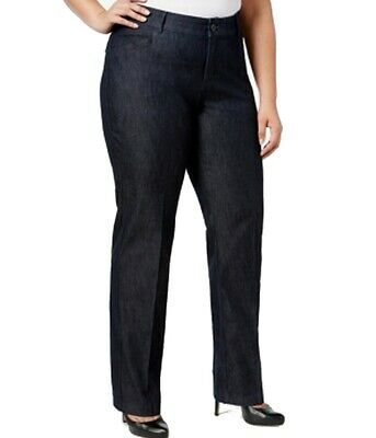 Lee Women's Blue Size 14W Plus Eased Fit Low-Rise Pants Stretch $60 #337