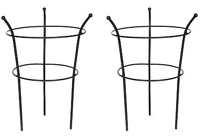 Metal Garden Peony Supports Herbaceous Plant Cage Frame Rings Black Set of 2
