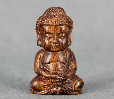 Boxwood wood Handcarved  Buddha Statues solid wood carving crafts H7cm