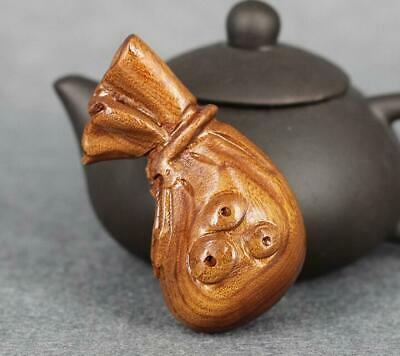 Boxwood wood Handcarved money bag Statues solid wood carving crafts
