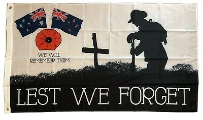 2 Lest We Forget Flags *Graded Seconds Faults* Poppy  Australia & NZ Flag 5x3 ft