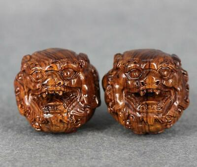 Boxwood Handcarved PiXiu Statues solid wood carving crafts health care ball 45mm