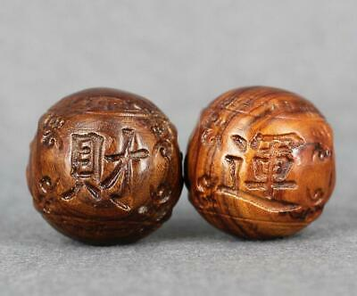 Boxwood Handcarved lucky Statues solid wood carving crafts health care ball 45mm