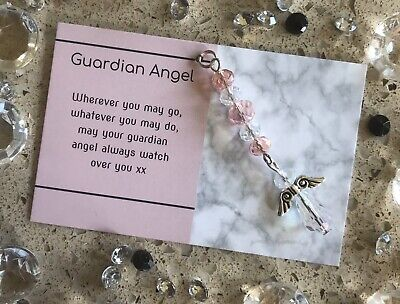 Handmade Gift Hanging Crystal Guardian Angel - New Baby Girl Christening