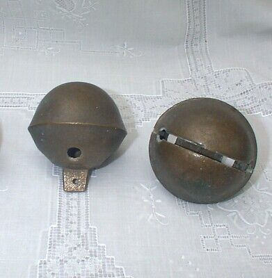 "TWO LARGE 3"" Antique Brass Sleigh Jingle Bells"