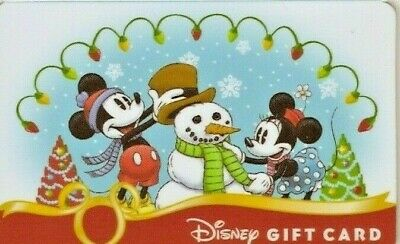 Collectible Christmas Snowman DISNEY GIFT CARD NO CASH VALUE Micky Minnie