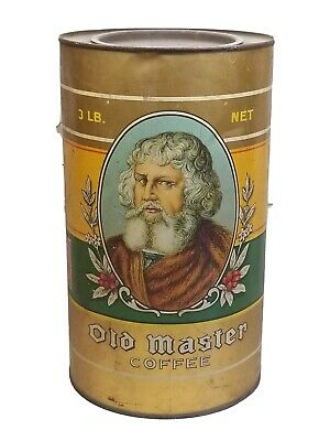 """Vintage Old Master Brand Advertising Coffee Tin 3 Lb Size Great Graphics 9 1/2"""""""