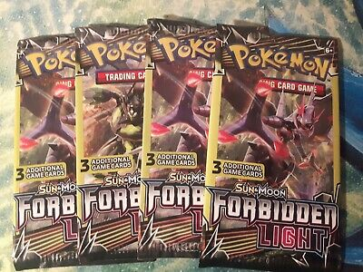X4 Sun & Moon: Forbidden Light - 3 Card Sealed Booster Pack - POKEMON - TCG