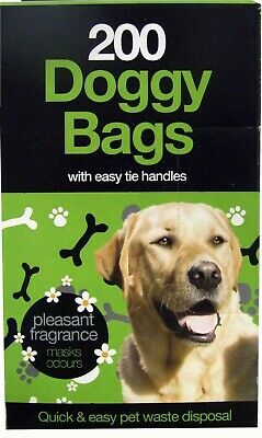 Doggy Poo Bags Easy Tie Handles - Packs of 200 - Puppy Dog Waste Poop
