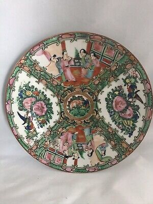 Vintage Chinese Famille Rose Medallion 8.5in. Hand Painted Porcelain Plate