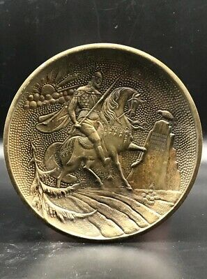 Ca 500Bce - Ancient Greek Fighter On Horse Bronze Wonderful Plate