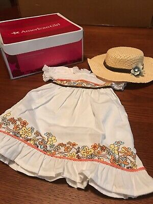 American Girl Doll Julie's Birthday Dress Outfit with Hat & Necklace Unused