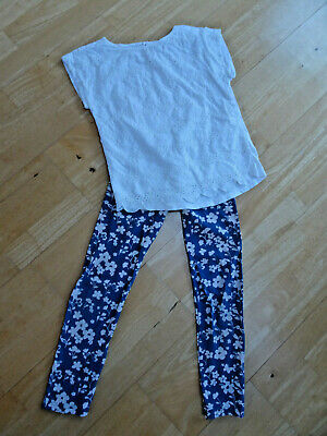 M&S girls 2 piece leggings summer top set AGE 10 - 11 YEARS EXCELLENT COND