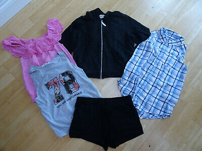 H&M girls 5 piece summer clothes bundle top shorts jumper AGE 10 - 11 YEARS