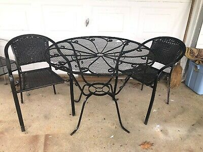 Antique Wrought Iron Table And 2 Chairs