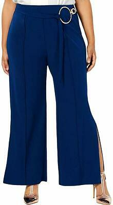 NY Collection Womens Dress Pants Eclipse Blue Size 2X Plus Stretch $54 251