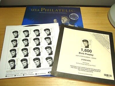 ELVIS PRESLEY 2015 USPS Music Icon FOREVER STAMPS SHEET OF 16 Book + Panel cover
