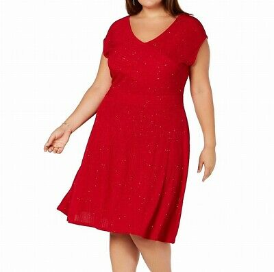 NY Collection Womens Dress Red Size 3X Plus A-Line Shimmer V Neck $70 316