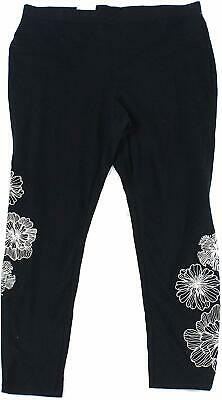 Style & Co. Womens Leggings Black Size 3X Plus Floral-Embroidered $39- 122