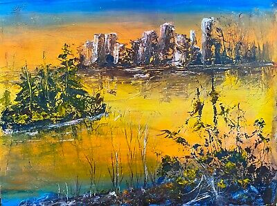 Mid-Century Modern Vintage 1970s Cityscape Abstract  Painting