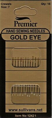 Crewel Needles Gold Eye Size 5-10 Pack 16 Hemline Premium Embroidery