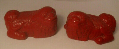 2 Vintage Chinese Cinnabar Red Lacquer Carved Foo Dogs Estate Find NICE**