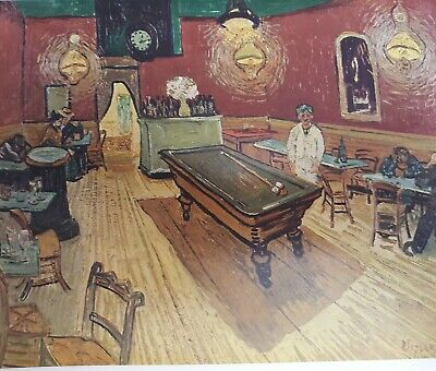"""Vintage 1952 full Color Art Plate """"Night Cafe"""" by Van Gogh Lithograph Abrams"""
