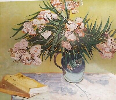 """Vintage 1952 full Color Art Plate """"Oleanders"""" by Van Gogh Lithograph Abrams"""