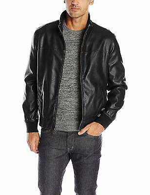 Tommy Hilfiger Mens Jacket Black Size Small S Faux-Leather Moto $148- 205