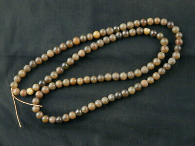 """31"""" Exquisite Chinese Old Jade Hand Carved Round Beads Prayer Necklace W123"""