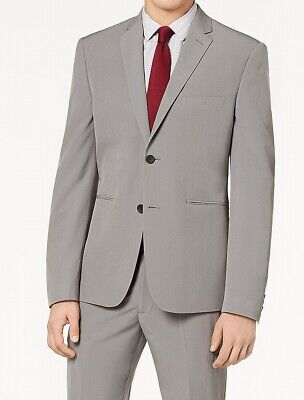 Perry Ellis Mens Blazer Gray Size 40 Super Slim Two-Button Notched $247- #138