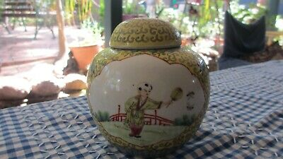 Vintage Chinese Ginger Jar Hand Painted Lady & Gent its beautiful Famille Rose