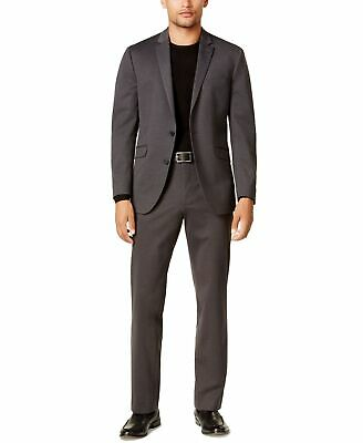Reaction Kenneth Cole Mens Suit Gray Size 38 Two Button Notch-Collar $395 533