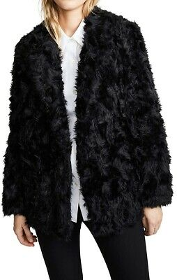 Theory Womens Jacket Black Size Small S Open Front Luxe Faux Fur $340 170