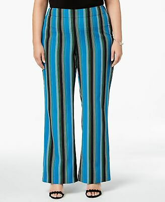 INC Womens Pants Blue Black Size 14W Plus Striped Wide-Leg Stretch $89 203