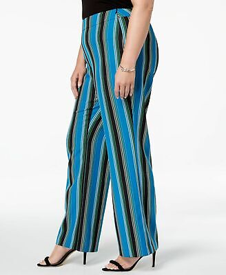 INC Womens Pants Blue Black Size 18W Plus Striped Side Zip Stretch $89 202