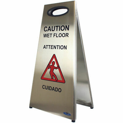 Wet Floor Sign Stainless Steel Heavy Sturdy Design Rubber Extrusion Silk Screen