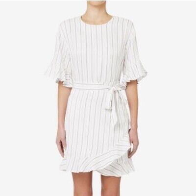 Seed Short-Sleeve Striped Ruffle Wrap-Skirt Dress - Size 14