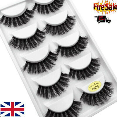 5 Pairs 3D False Eyelashes Mink Wispy Cross Long Thick Soft Fake Eye Lashes UK T