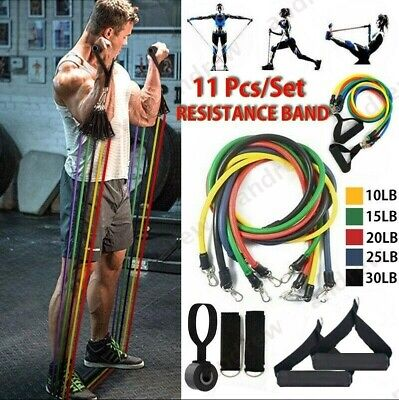 Hot Resistance Bands Workout Exercise Yoga 11 Piece Set Crossfit Fitness Tubes