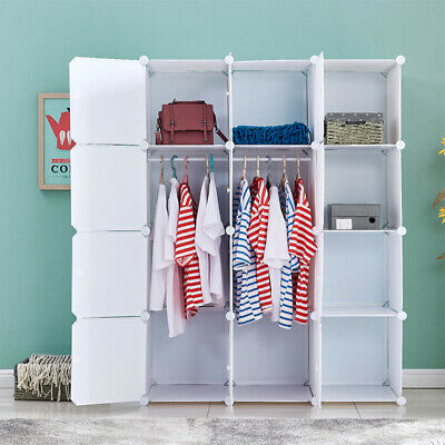 Wardrobe Closet Armoire Storage Cube Organizer w/ Doors 6 Cubes 2 Hanger Bedroom