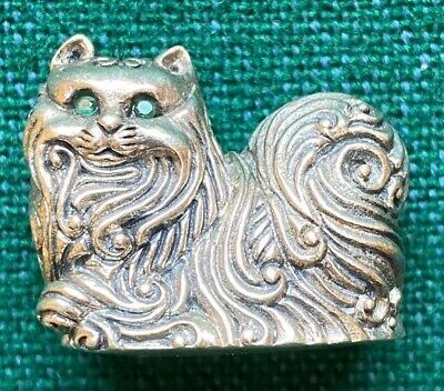 Antique Solid Silver Sterling Miniature Persian or Chinese Cat Diamond Eyes