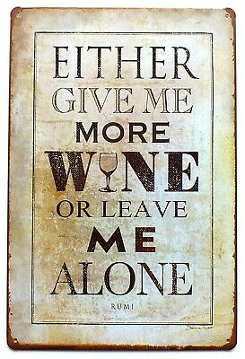 Wine From Around The World Metal Tin Wall Sign Plaque Door 30 x 20 cm